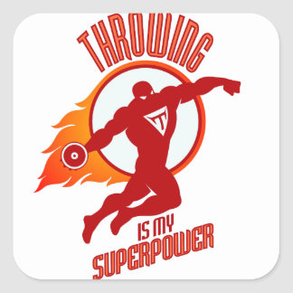 throwing discus is my superpower square sticker