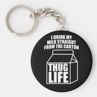 Thug Life Milk Carton (dark) Basic Round Button Key Ring
