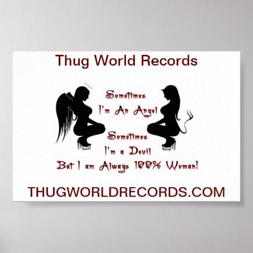 Thug World Records devil angel poster