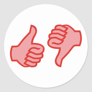 Thumb above down thumbs UP down Classic Round Sticker