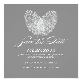Thumb Print Heart | Save the Date 13 Cm X 13 Cm Square Invitation Card