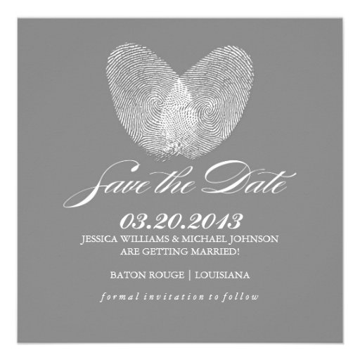 Thumb Print Heart | Save the Date Invitations