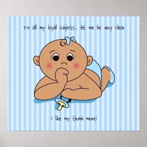 Thumb Sucking Baby Boy Poster