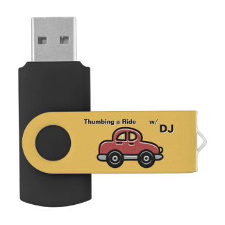 Thumbing a Ride - Red Car on Yellow (Personalized) USB Flash Drive