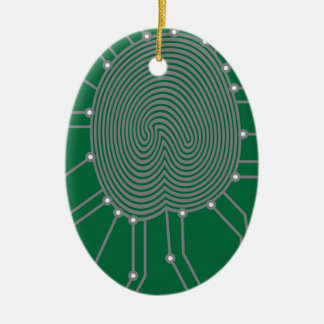 Thumbprint with Circuit Board Illustration Ceramic Oval Decoration