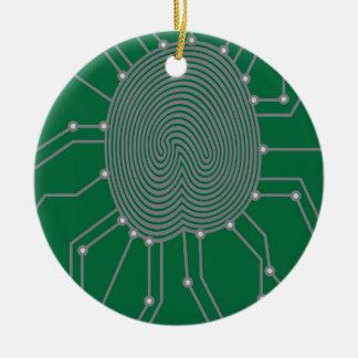 Thumbprint with Circuit Board Illustration Round Ceramic Decoration
