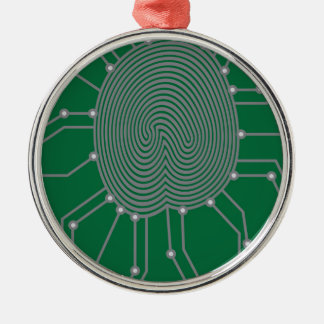 Thumbprint with Circuit Board Illustration Silver-Colored Round Decoration