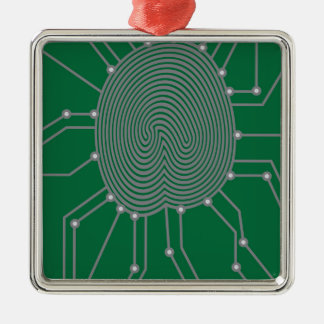 Thumbprint with Circuit Board Illustration Silver-Colored Square Decoration