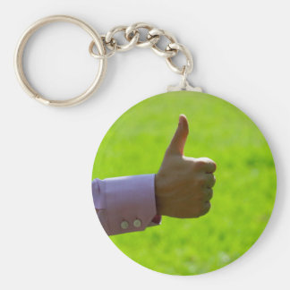 Thumbs Up Basic Round Button Key Ring