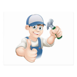 Thumbs up carpenter or builder post card