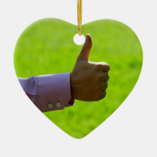 Thumbs Up Ceramic Heart Decoration
