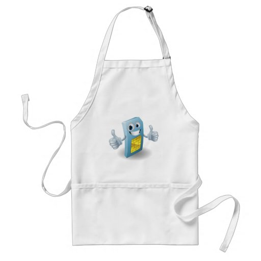 Thumbs up phone sim card person apron
