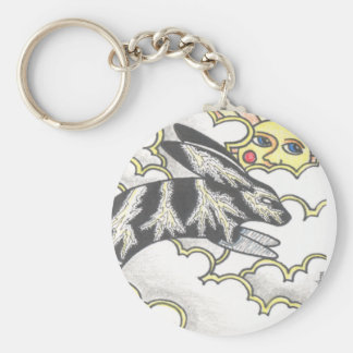 Thunder Bunny Basic Round Button Key Ring