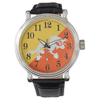 Thunder Dragon Flag of Bhutan Wrist Watches