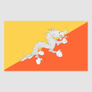 Thunder Dragon National Flag of Bhutan Rectangular Sticker