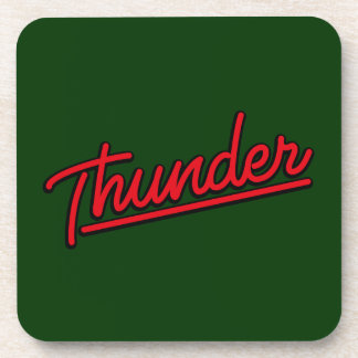 Thunder in red beverage coasters