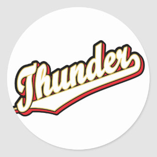 Thunder in Red, Gold and Black Round Sticker