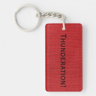 Thunderation! bold black text on Red Linen Photo Key Ring