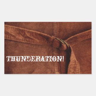 THUNDERATION! old-timey white font on Suede Photo Rectangular Sticker