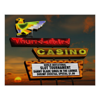 Thunderbird Casino Sign Las Vegas Retro Poster