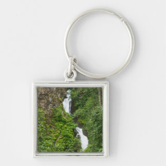 Thunderbird Falls Painterly Silver-Colored Square Key Ring