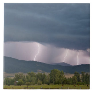 Thunderstorm produced lightning in the Jocko Large Square Tile