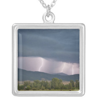 Thunderstorm produced lightning in the Jocko Square Pendant Necklace