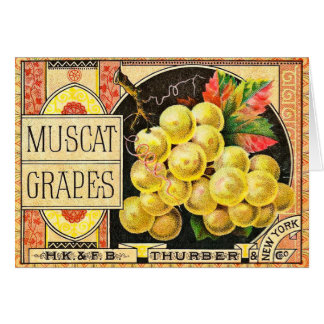 Thurber Muscat Grapes - Vintage Crate Label Greeting Card