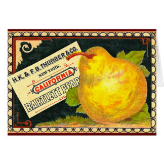 Thurber Pears Vintage Crate Label Greeting Card