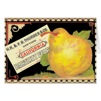 Thurber Pears - Vintage Fruit Crate Label Greeting Card