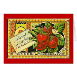 Thurber Strawberries Vintage Crate Label Card