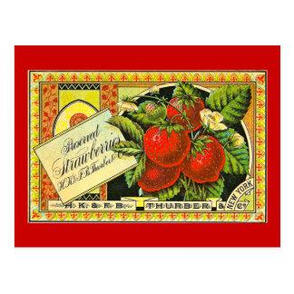 Thurber Strawberries Vintage Crate Label Postcard