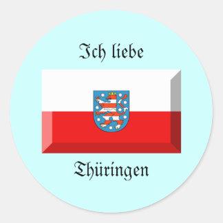Thuringen Flag Gem Classic Round Sticker