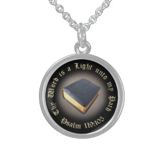 """Thy Word is a Light unto my Path Necklace"" Round Pendant Necklace"