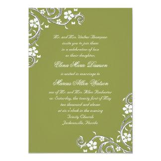 Thyme Floral Swirls Wedding Invitation