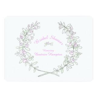 "Thyme wreath art bridal shower invite 6.5"" x 8.75"" invitation card"