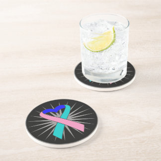 Thyroid Cancer Heart Ribbon Beverage Coaster