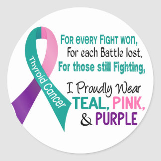 Thyroid Cancer I Proudly Wear Teal Purple Pink 1 Classic Round Sticker