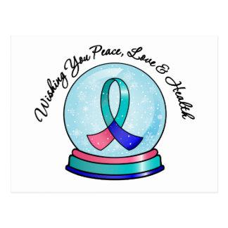 Thyroid Cancer Merry Christmas Snowglobe Postcard