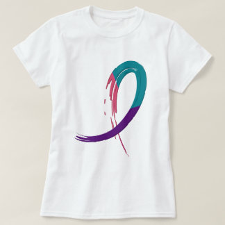 Thyroid Cancer Teal, Purple, And Pink Ribbon A4 T-Shirt