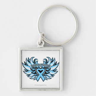 Thyroid Disease Awareness Heart Wings.png Silver-Colored Square Key Ring