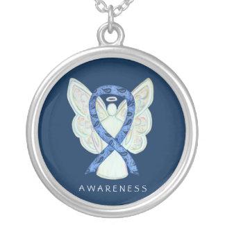Thyroid Disease Awareness Paisley Ribbon Necklace