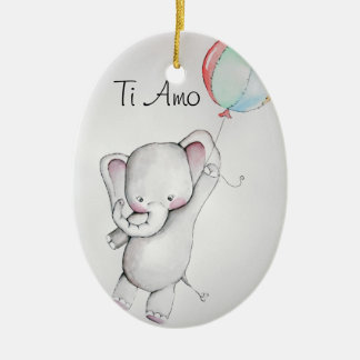 Ti Amo Baby Elephant with Balloon Ornament