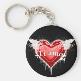 Ti amo (I love you) Basic Round Button Key Ring