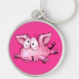 Ti-PIG BUTTON  Premium Round Keychain LARGE