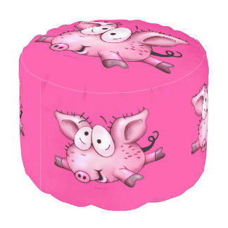 Ti PIG CARTOON Sturdy Spun Polyester 2 Pouf