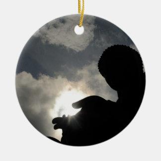 Tian Tan Buddha with sun in hand Ceramic Ornament