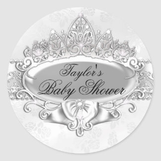 Tiara & Damask Silver Baby Shower Sticker