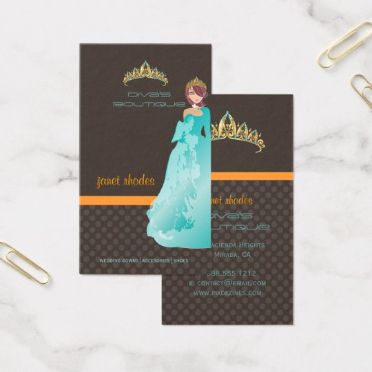 tiara diva 39 s boutique dark taupe teal orange business card zazzle. Black Bedroom Furniture Sets. Home Design Ideas
