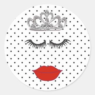 Tiara Party Polka Dots Wedding Party Stickers